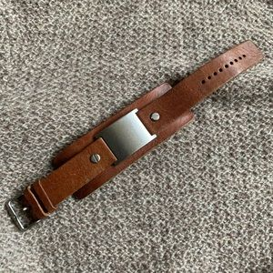 2/$10 Fossil Brown Leather Adjustable Cuff